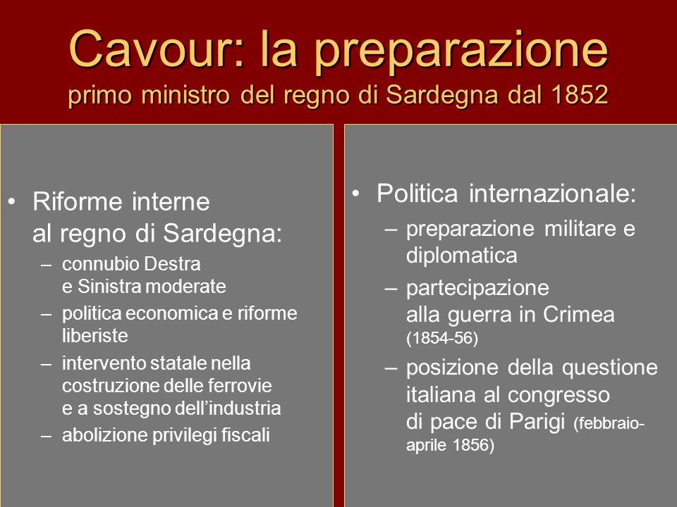 Cavour: la preparazione primo ministro del regno di Sardegna dal 1852