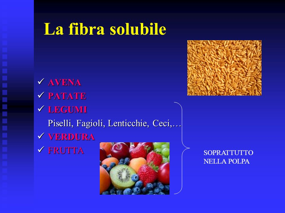 La fibra solubile AVENA PATATE LEGUMI