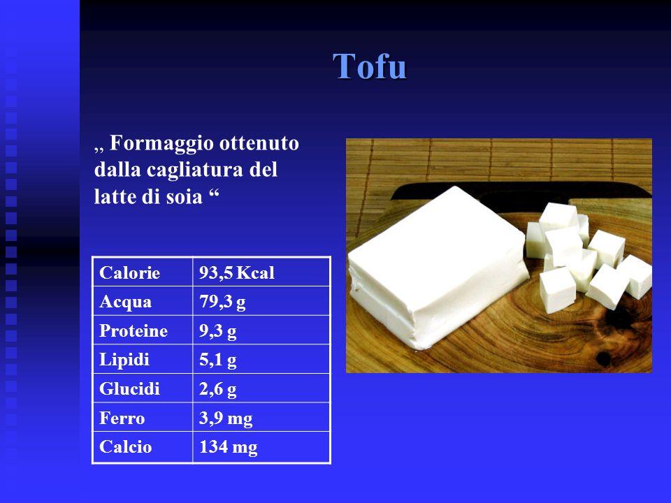 """Tofu """" Formaggio ottenuto dalla cagliatura del latte di soia Calorie"""