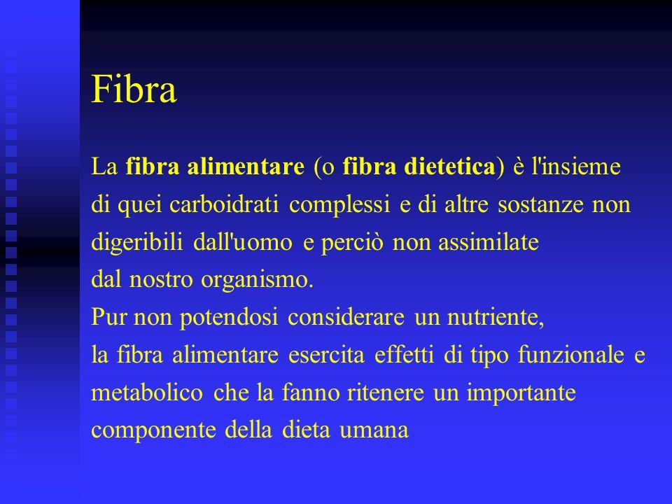 Fibra La fibra alimentare (o fibra dietetica) è l insieme