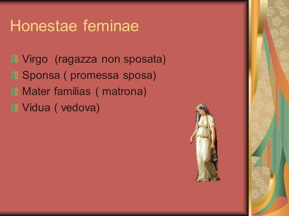 Honestae feminae Virgo (ragazza non sposata) Sponsa ( promessa sposa)