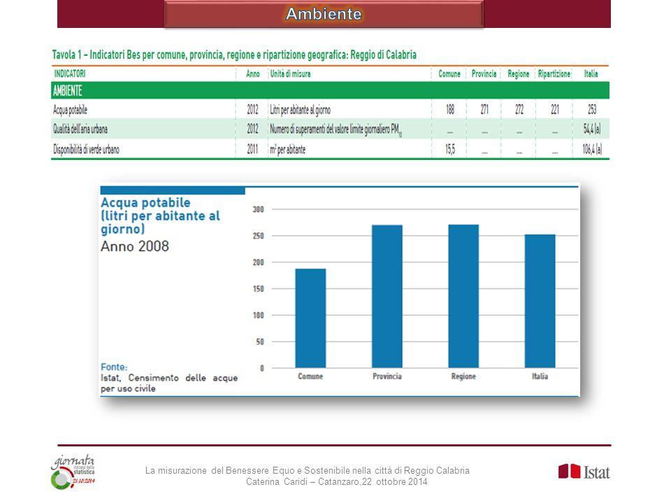 Ambiente La misurazione del Benessere Equo e Sostenibile nella città di Reggio Calabria.