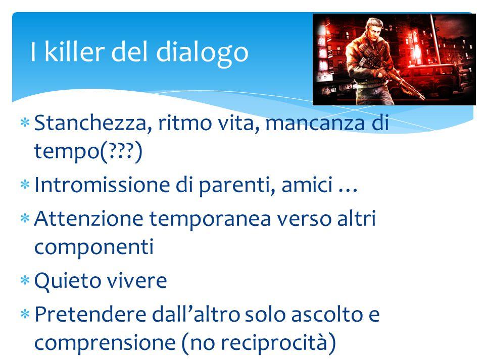 I killer del dialogo Stanchezza, ritmo vita, mancanza di tempo( )