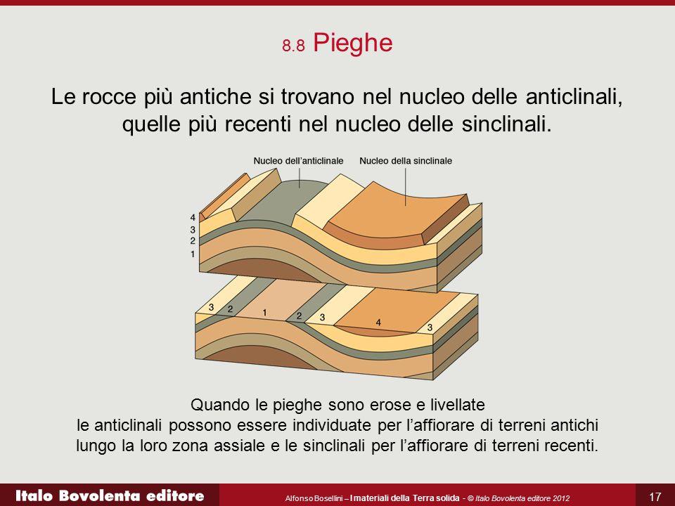 8.8 Pieghe Le rocce più antiche si trovano nel nucleo delle anticlinali, quelle più recenti nel nucleo delle sinclinali.