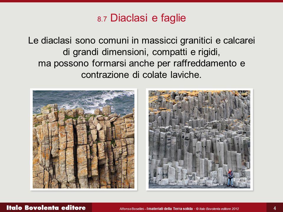 8.7 Diaclasi e faglie Le diaclasi sono comuni in massicci granitici e calcarei di grandi dimensioni, compatti e rigidi,