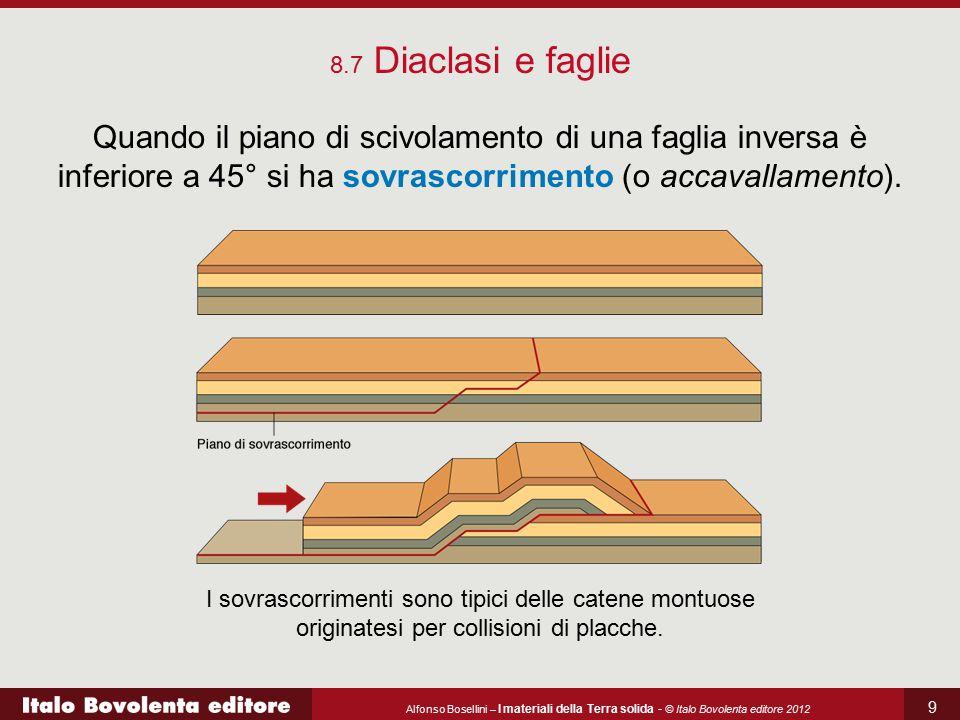 8.7 Diaclasi e faglie Quando il piano di scivolamento di una faglia inversa è inferiore a 45° si ha sovrascorrimento (o accavallamento).