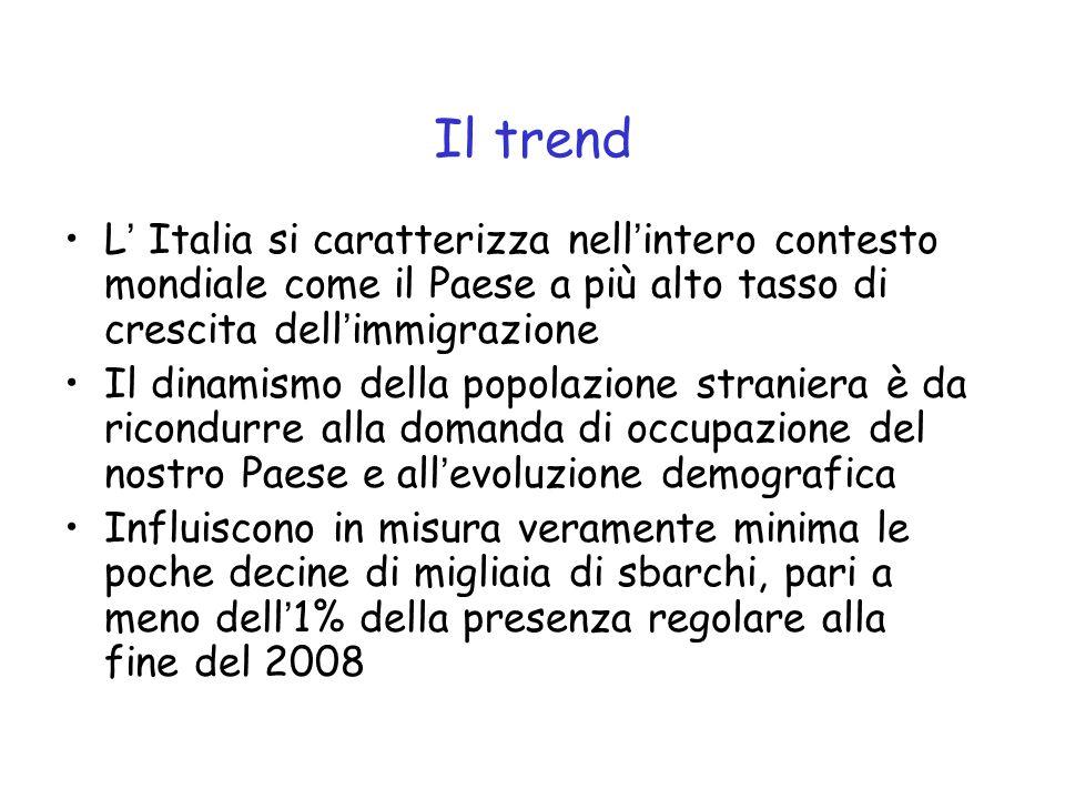 Il trend L' Italia si caratterizza nell'intero contesto mondiale come il Paese a più alto tasso di crescita dell'immigrazione.