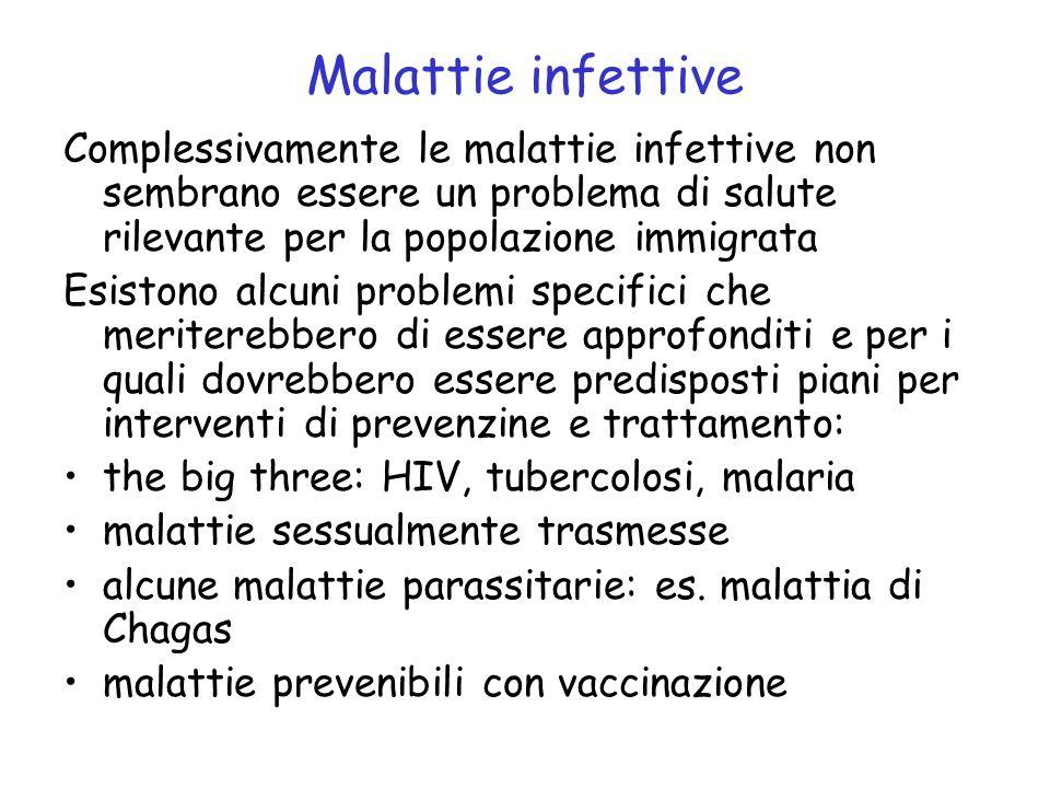 Malattie infettive Complessivamente le malattie infettive non sembrano essere un problema di salute rilevante per la popolazione immigrata.