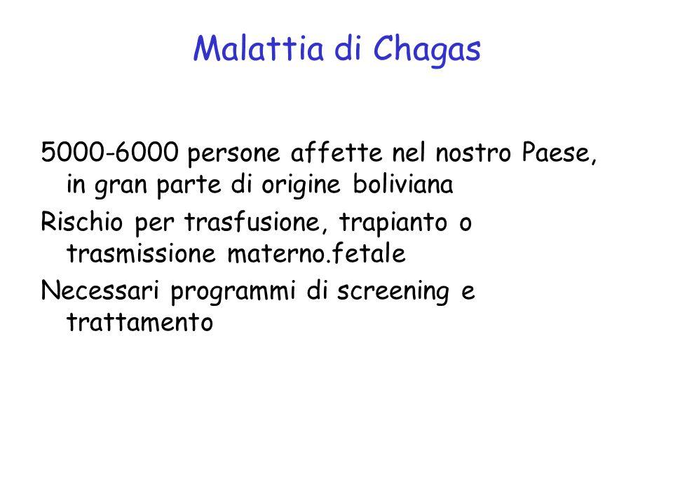 Malattia di Chagas 5000-6000 persone affette nel nostro Paese, in gran parte di origine boliviana.