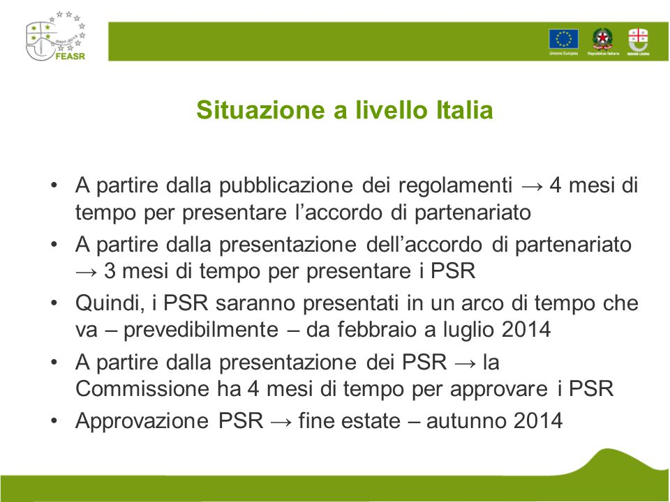 Situazione a livello Italia