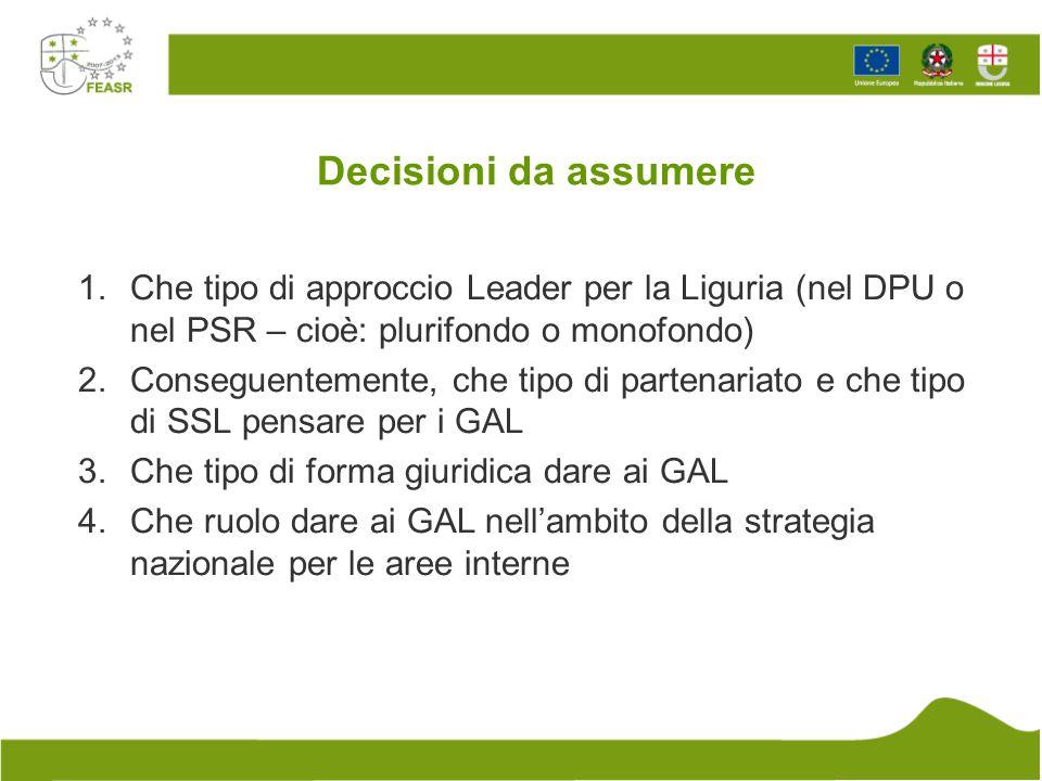 Decisioni da assumere Che tipo di approccio Leader per la Liguria (nel DPU o nel PSR – cioè: plurifondo o monofondo)