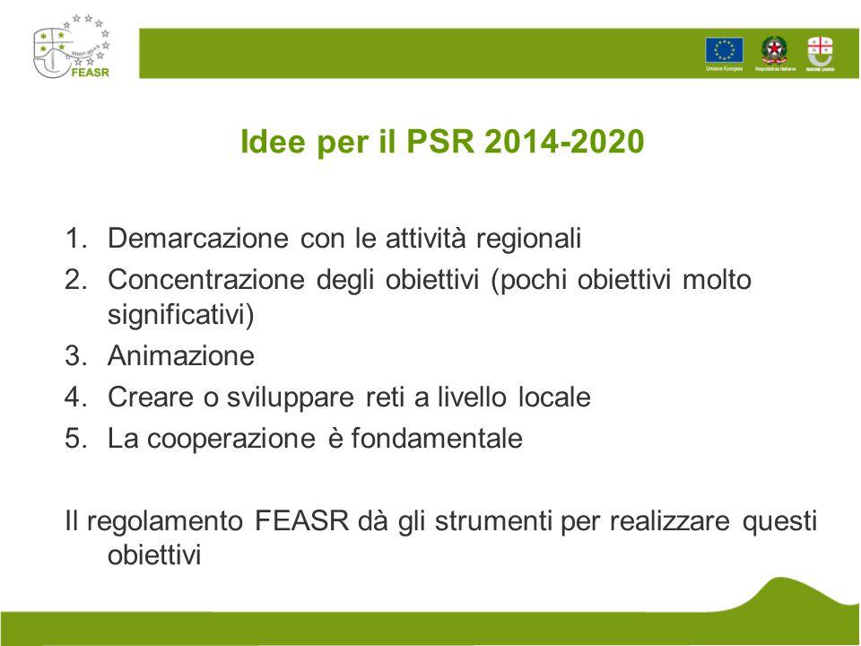 Idee per il PSR 2014-2020 Demarcazione con le attività regionali