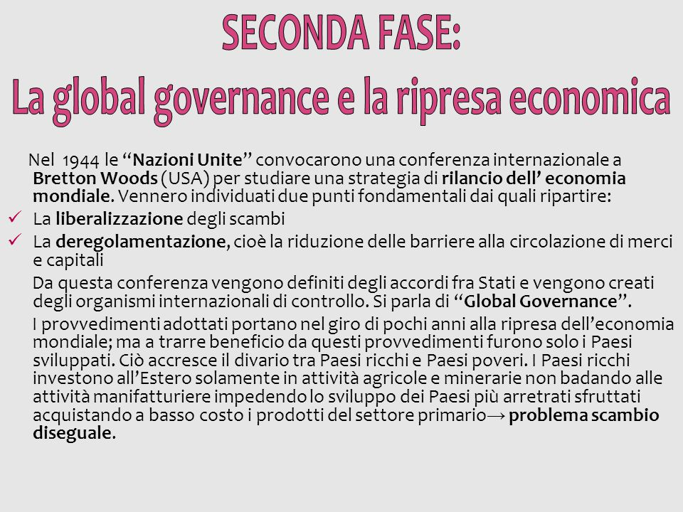 La global governance e la ripresa economica
