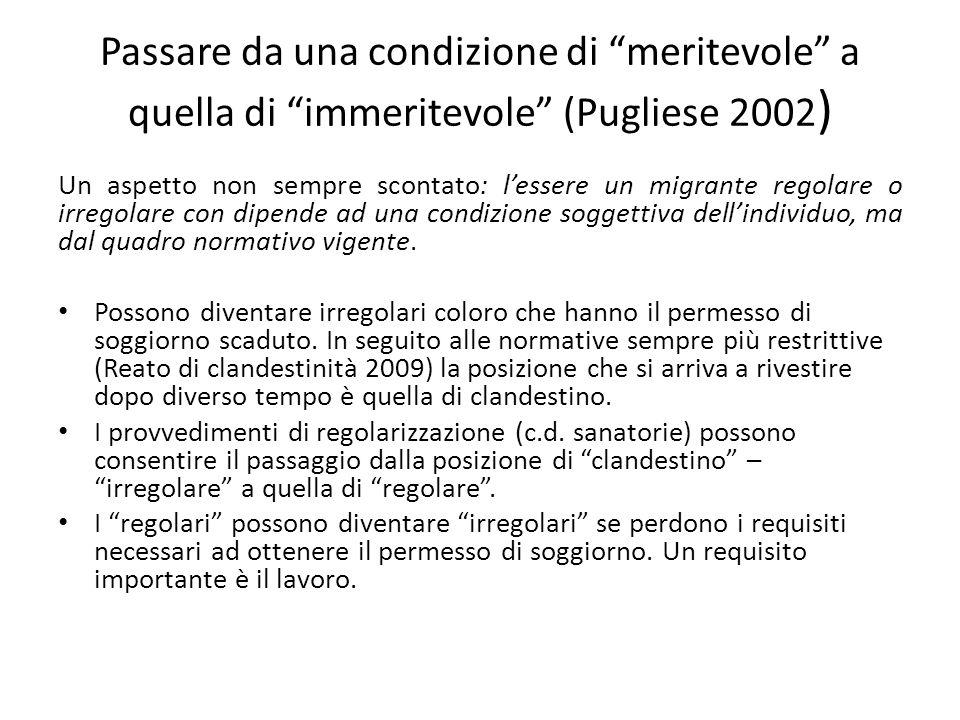Passare da una condizione di meritevole a quella di immeritevole (Pugliese 2002)