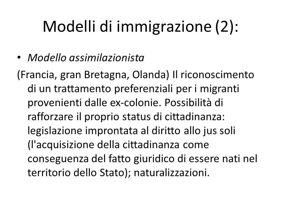 Modelli di immigrazione (2):