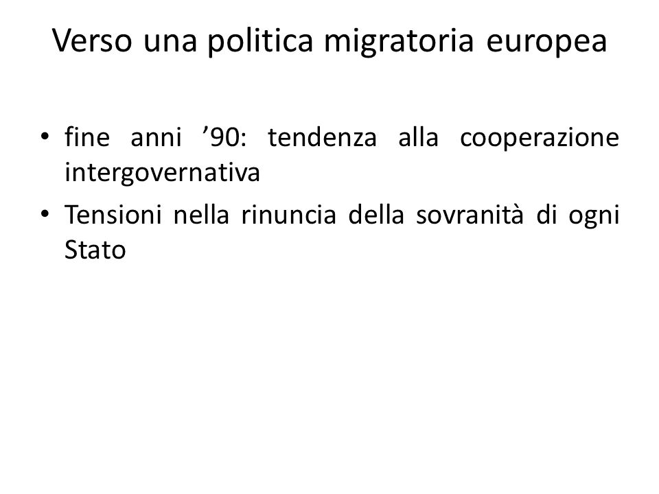 Verso una politica migratoria europea