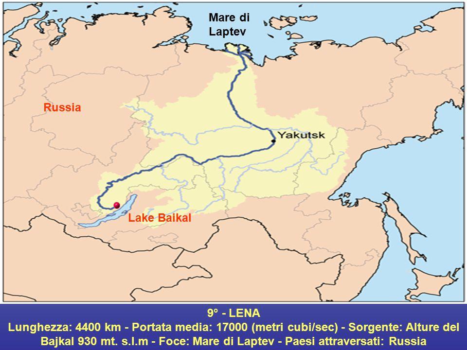 Mare di Laptev Russia. Lake Baikal. 9° - LENA.