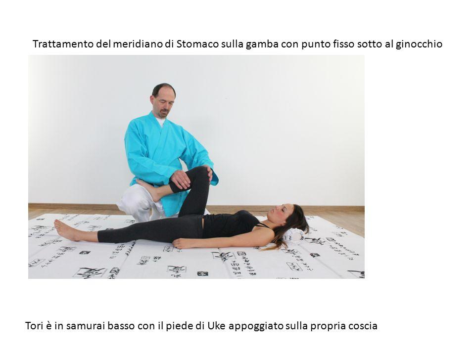 Trattamento del meridiano di Stomaco sulla gamba con punto fisso sotto al ginocchio