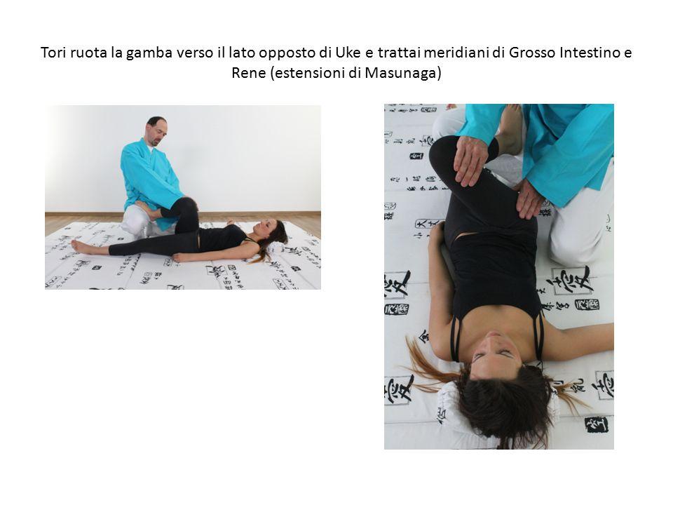 Tori ruota la gamba verso il lato opposto di Uke e trattai meridiani di Grosso Intestino e Rene (estensioni di Masunaga)