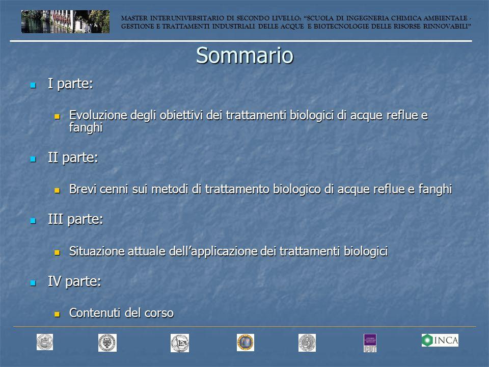Sommario I parte: II parte: III parte: IV parte: