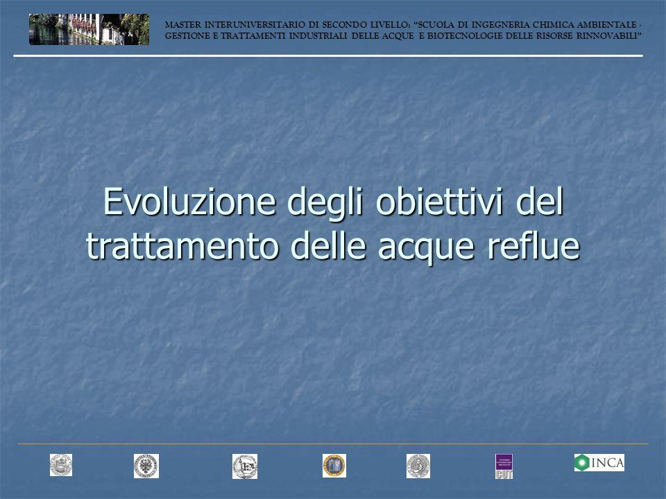 Evoluzione degli obiettivi del trattamento delle acque reflue