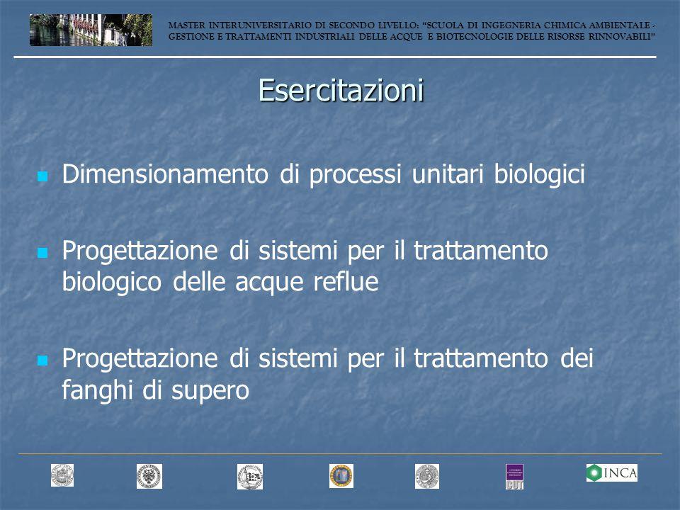 Esercitazioni Dimensionamento di processi unitari biologici