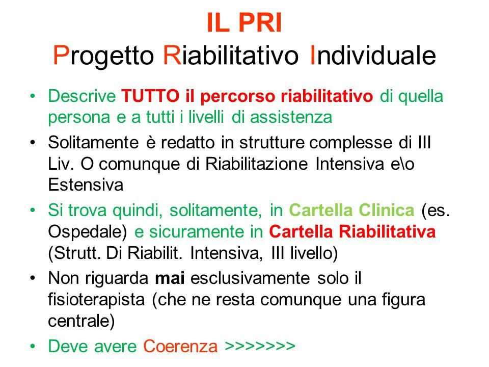 IL PRI Progetto Riabilitativo Individuale