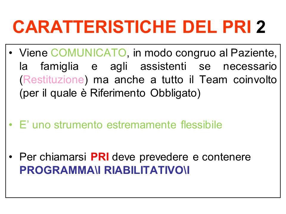 CARATTERISTICHE DEL PRI 2