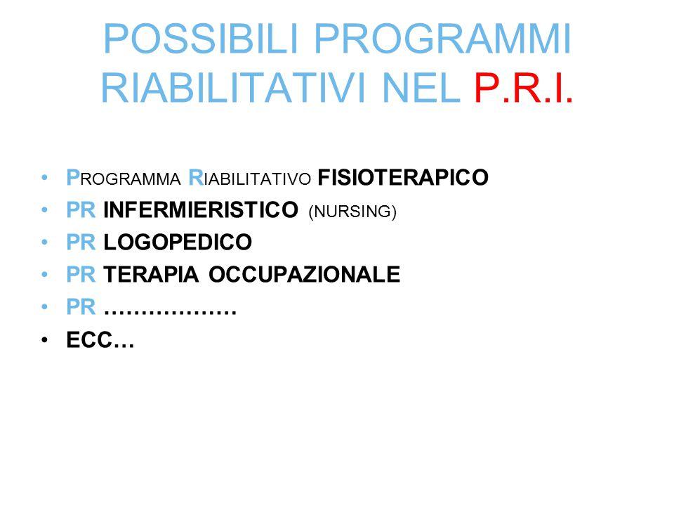 POSSIBILI PROGRAMMI RIABILITATIVI NEL P.R.I.