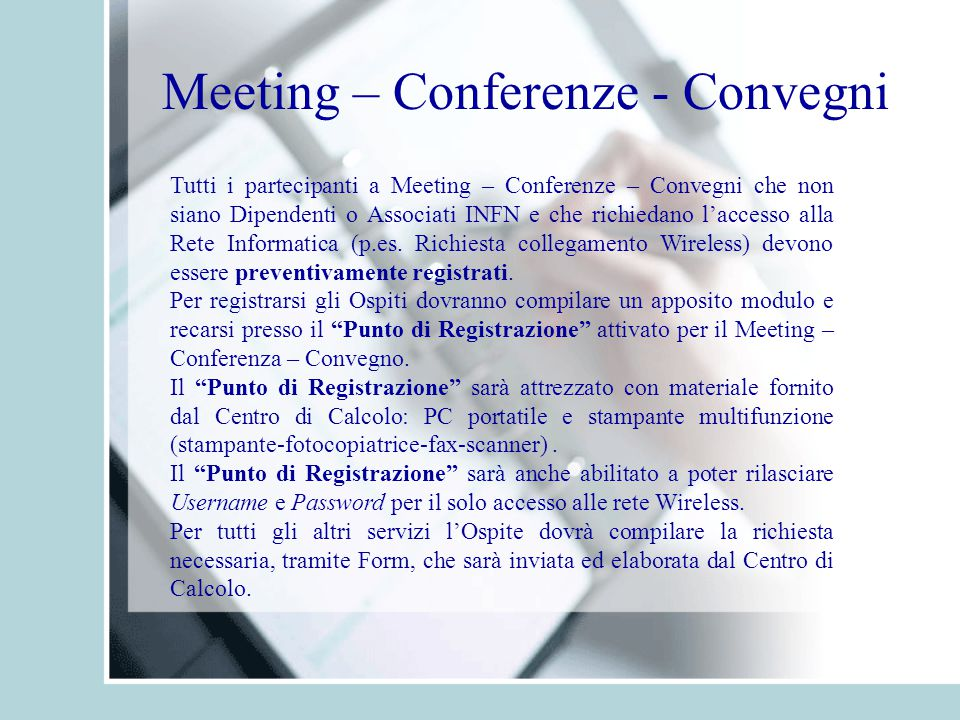 Meeting – Conferenze - Convegni
