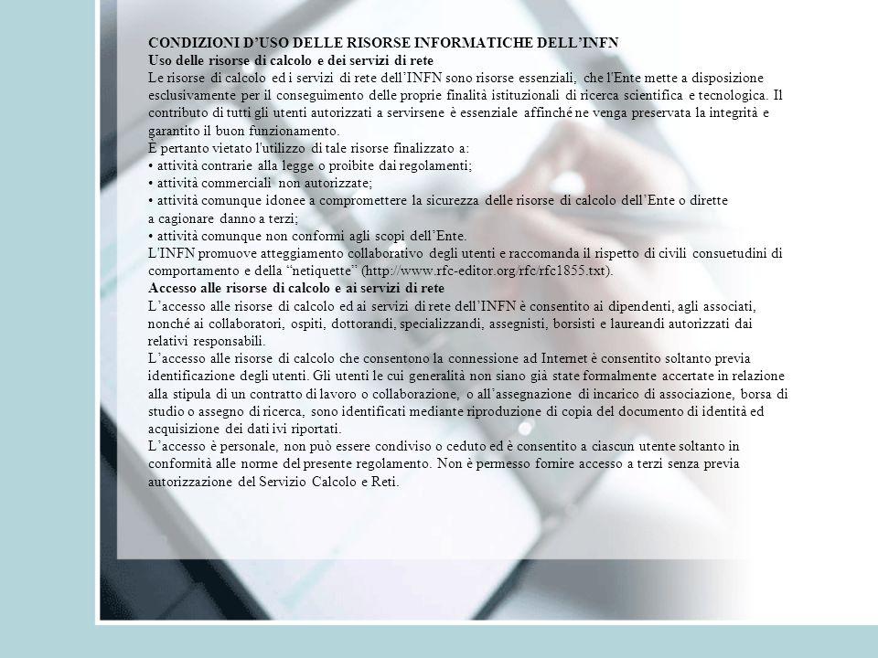 CONDIZIONI D'USO DELLE RISORSE INFORMATICHE DELL'INFN