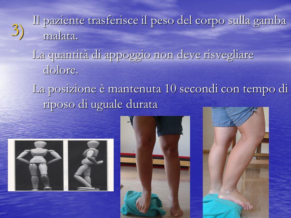3) Il paziente trasferisce il peso del corpo sulla gamba malata.