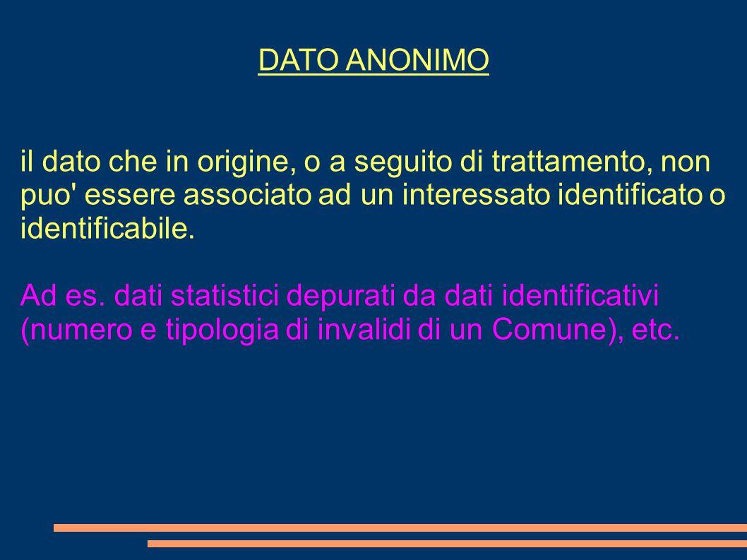DATO ANONIMO il dato che in origine, o a seguito di trattamento, non puo essere associato ad un interessato identificato o identificabile.