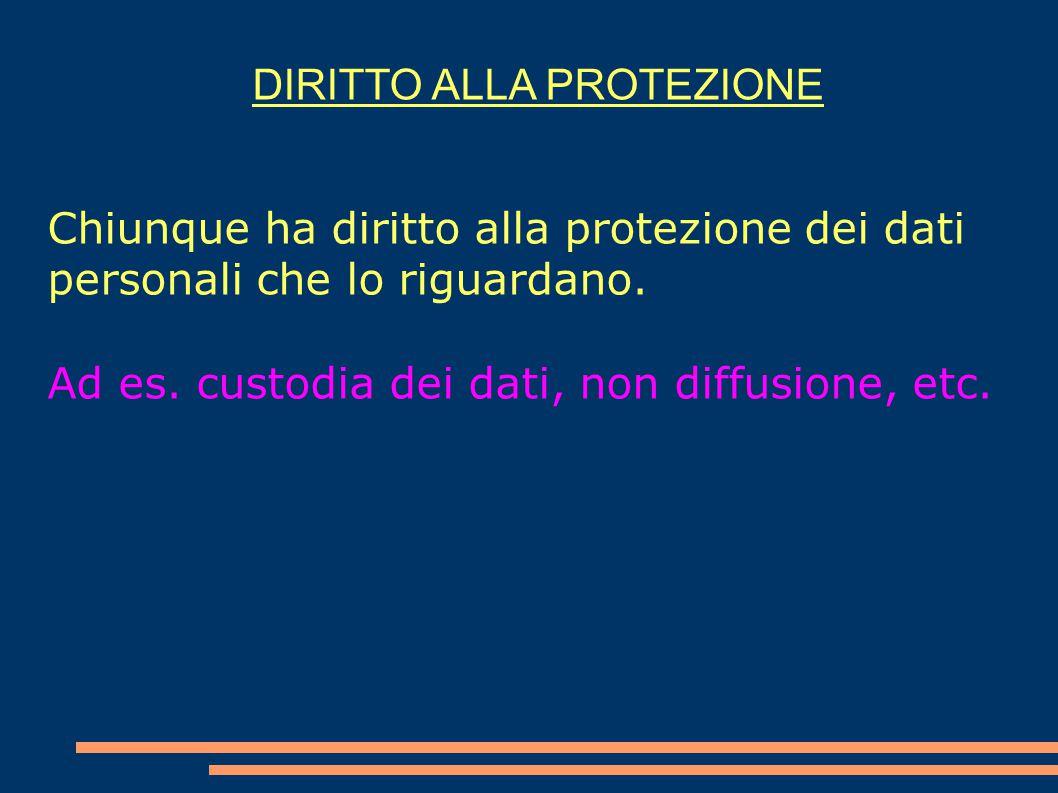 DIRITTO ALLA PROTEZIONE