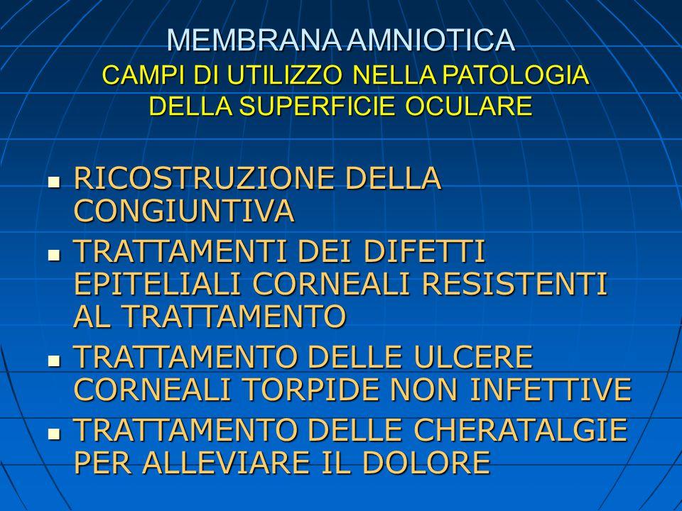 MEMBRANA AMNIOTICA CAMPI DI UTILIZZO NELLA PATOLOGIA DELLA SUPERFICIE OCULARE