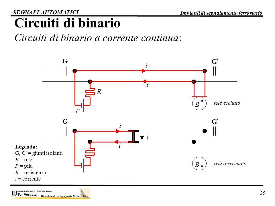 Circuiti di binario Circuiti di binario a corrente continua:
