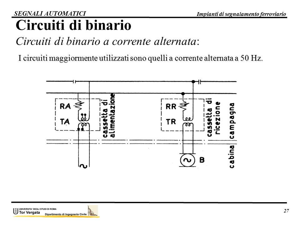Circuiti di binario Circuiti di binario a corrente alternata: