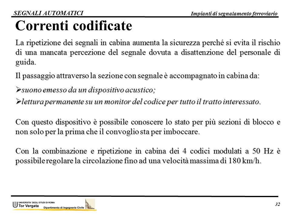 32 Impianti di segnalamento ferroviario. SEGNALI AUTOMATICI. Correnti codificate.