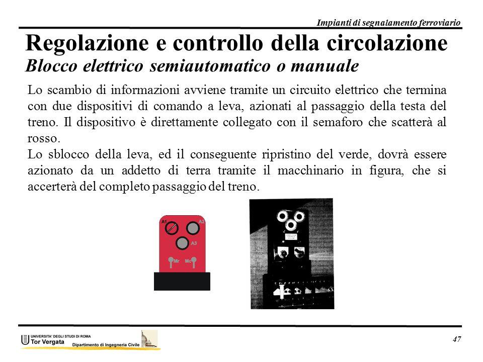 47 Impianti di segnalamento ferroviario. Regolazione e controllo della circolazione Blocco elettrico semiautomatico o manuale.