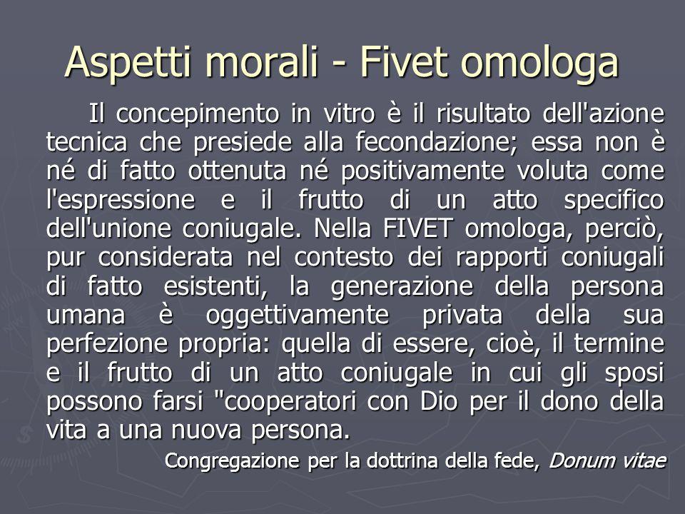 Aspetti morali - Fivet omologa