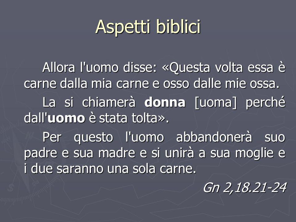 Aspetti biblici Allora l uomo disse: «Questa volta essa è carne dalla mia carne e osso dalle mie ossa.