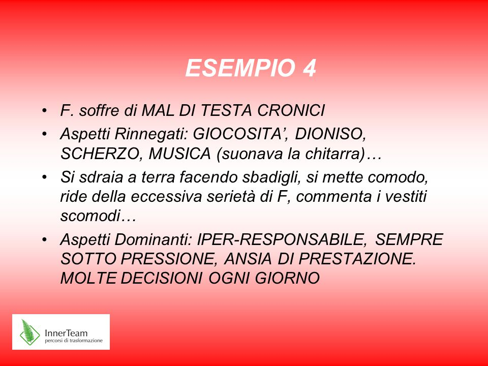 ESEMPIO 4 F. soffre di MAL DI TESTA CRONICI