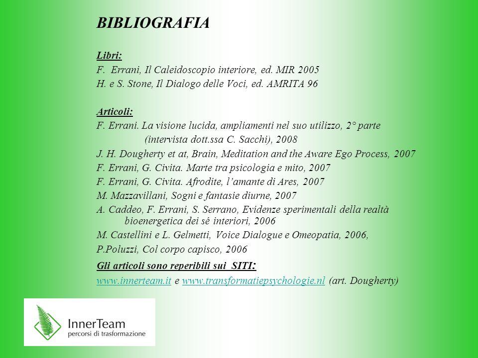 BIBLIOGRAFIA Libri: F. Errani, Il Caleidoscopio interiore, ed. MIR 2005. H. e S. Stone, Il Dialogo delle Voci, ed. AMRITA 96.