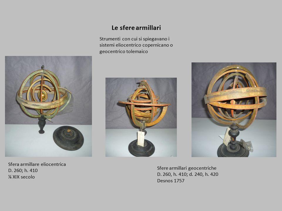 Le sfere armillari Strumenti con cui si spiegavano i sistemi eliocentrico copernicano o geocentrico tolemaico.