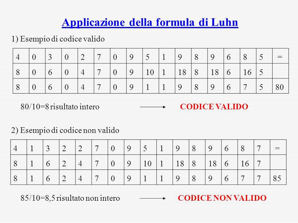 Applicazione della formula di Luhn