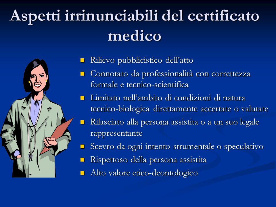 Aspetti irrinunciabili del certificato medico