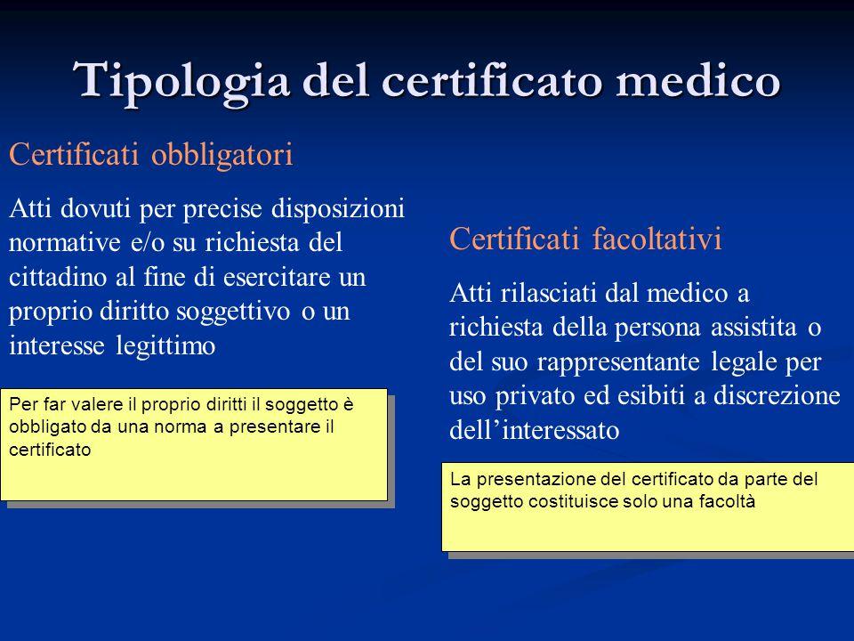 Tipologia del certificato medico