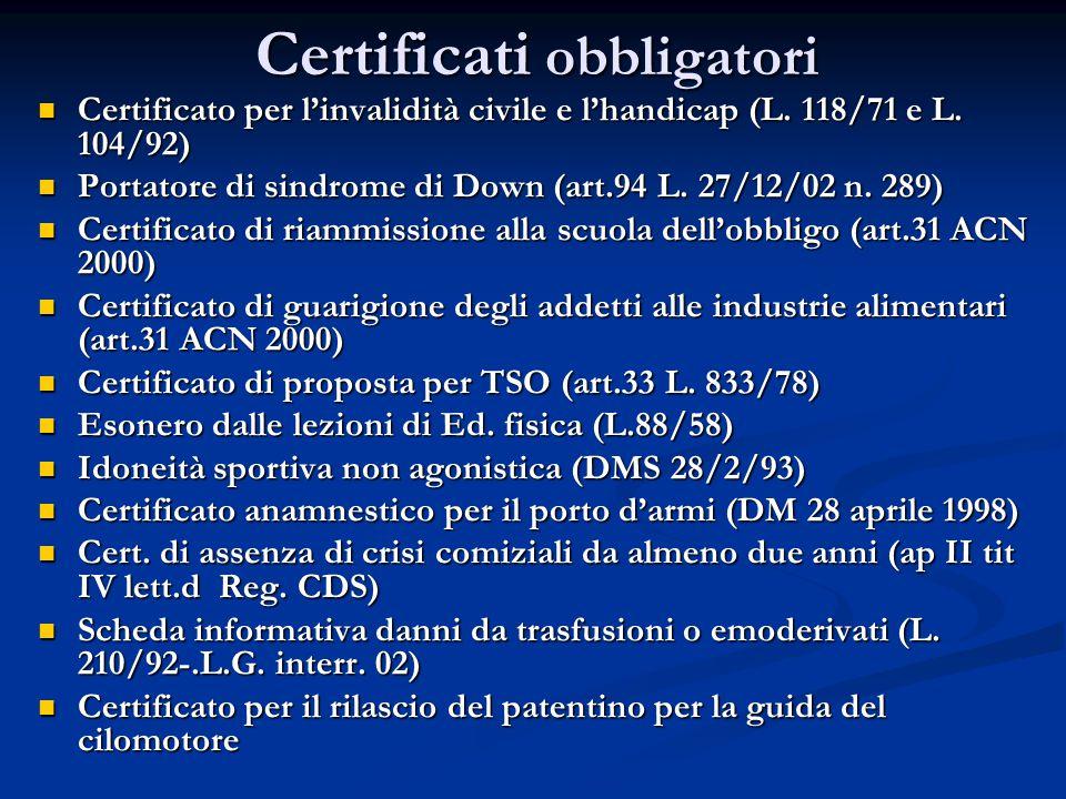 Certificati obbligatori