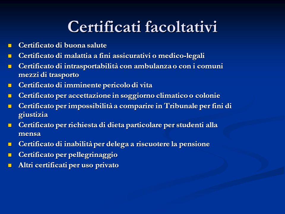 Certificati facoltativi