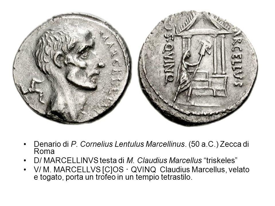 Denario di P. Cornelius Lentulus Marcellinus. (50 a.C.) Zecca di Roma